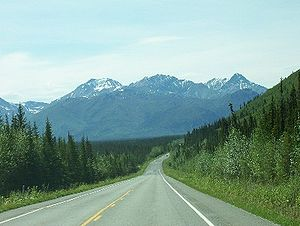 Roadgeek - Driving south on The Alaska Tok Cutoff Highway.