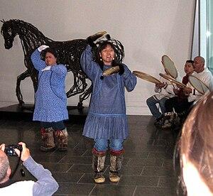 Native American identity in the United States - Alaska Native dancers at the University of Alaska, Fairbanks Art Museum, 2006
