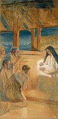 Paimenet kumartavat Jeesus-lasta, harjoitelma Vaasan kirkon alttaritauluun