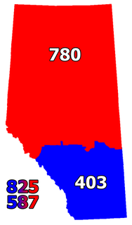 Area codes 587 and 825