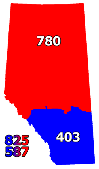 Area code 780 - Area codes in Alberta after 9 April 2016