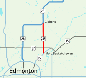 Alberta Highway 28A - Image: Alberta Highway 28A Map