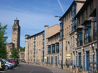 Gorbals - Alexander Crescent, Gorbals, in 2011 with Caledonia Road Church tower in background