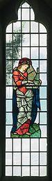 All Saints church, Preston Bagot - Saint Cecilia stained glass window 2016.jpg