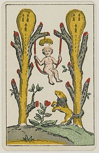 Aluette card deck - Grimaud - 1858-1890 - Two of Clubs.jpg