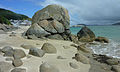 Amas de rochers sur la plage de O Porto de Bares.jpg