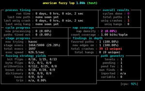 American fuzzy lop's afl-fuzz running on a test program