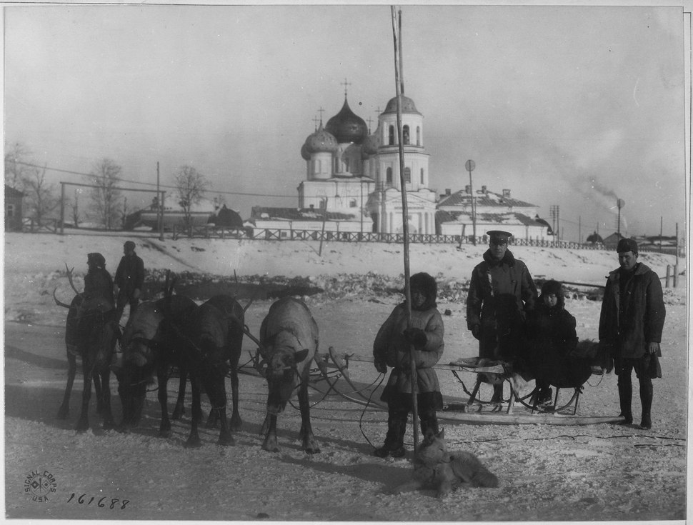 American officers frequently employed reindeer teams in crossing the Dwina River and in going about Archangel. Here are - NARA - 531151