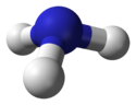 Baw-an-stick model o the ammonia molecule