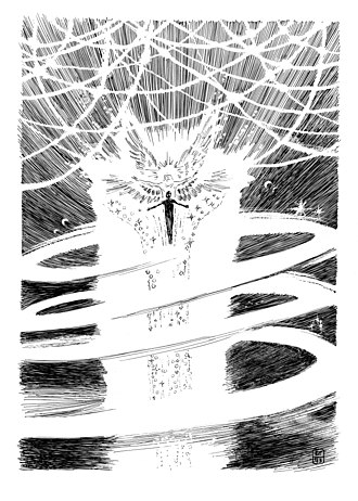 """The Ray of the Microcosm - Illustration """"Angel leads the Poet"""" by Borivoje Grbić for """"The Ray of the Microcosm"""""""