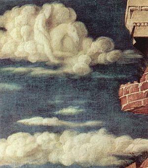 St. Sebastian (Mantegna) - Detail of the rider in the cloud of the Vienna St. Sebastian.