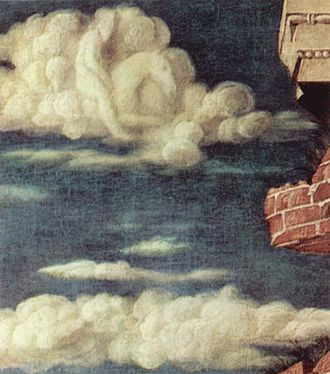 St. Sebastian (Mantegna) - Detail of the rider in the cloud of the Vienna St. Sebastian.