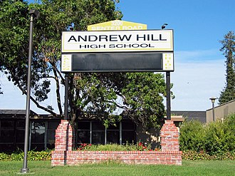 Andrew Hill High School - Image: Andrew Hill High School billboard