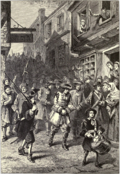 A 19th-century interpretation showing the arrest of Governor Andros during Boston's brief revolt