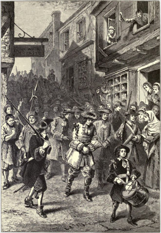 1689 Boston revolt - A 19th-century interpretation showing the arrest of Governor Andros during Boston's brief revolt