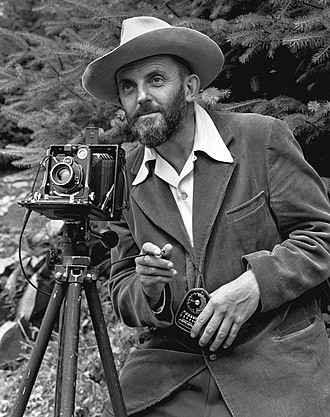 Ansel Adams - Image: Ansel Adams and camera