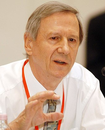 Anthony Giddens, a prominent proponent and ideologue of the Third Way that arose in the 1990s Anthony Giddens at the Progressive Governance Converence, Budapest, Hungary, 2004 October.jpg