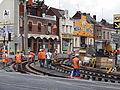 Anzin & Valenciennes - Travaux de raccordement des lignes A & B du tramway de Valenciennes à la Croix d'Anzin le 19 août 2013 (04).JPG