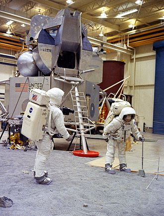 Johnson Space Center - Apollo 11 astronauts Neil Armstrong (left) and Buzz Aldrin train in Building 9 on April 18, 1969