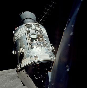 Apollo 17 - Apollo 17 SIM bay on the Service Module, seen from the Lunar Module in orbit around the Moon