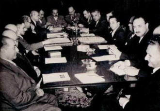 Arab Federation - Talks between King Hussein and King Faisal on the Arab Federation, early 1958.