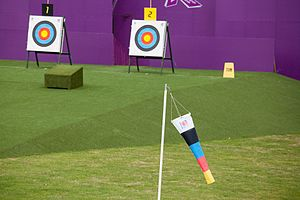 World Archery Federation - Some targets and a windsock at the 2012 Summer Paralympics