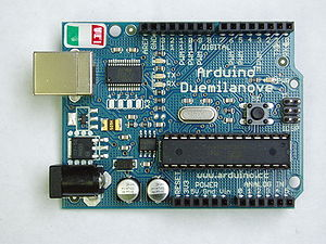Electrical engineering technology - A microcontroller development board (Arduino Duemilanove), which could be used for embedded systems development.