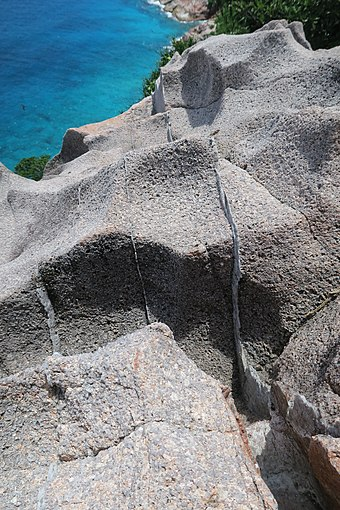 "Granite rock in the cliff of Gros la Tete - Aride Island, Seychelles. The thin (1-3 cm wide) brighter layers are quartz veins, formed during the late stages of crystallization of granitic magmas. They are also sometimes called ""hydrothermal veins"" ArideGranite1.jpg"