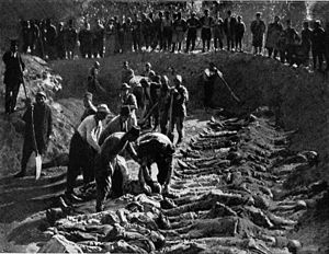 Hamidian massacres - Armenian victims of the massacres being buried in a mass grave at Erzerum cemetery.