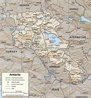 Outline of Armenia - An enlargeable relief map of the Republic of Armenia