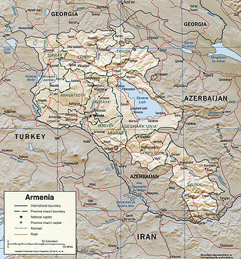 Geography Of Armenia Wikipedia - Armenia physical map