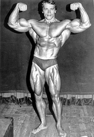 Arnold Schwarzenegger - As entrant to the 1974 Mr. Olympia competition at Madison Square Garden