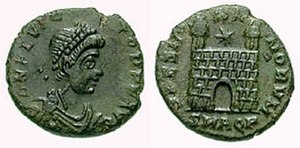Aquileia - Roman Emperor Flavius Victor on this as struck in Aquileia mint.