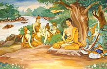 drawing of Buddha in lotus position with followers in woods by stream