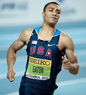 Ashton Eaton - Eaton en route to victory at the 2012 Indoor World Championships