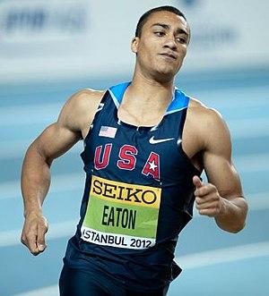 2012 IAAF World Indoor Championships – Men's heptathlon - Gold medal winner Ashton Eaton en route to victory.