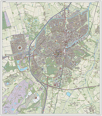 Assen - Topographic map of Assen, Sept. 2014
