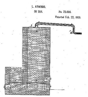 Luther Atwood - Atwood oil still patent No. 23,006