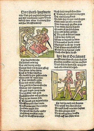Heldenbuch - The Augsburg edition of the Strassburg Heldenbuch, printed by Johann Schönsperger, Augsburg 1491. Folio 49v.