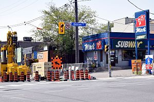 Avenue station - The main entrance will be located at the northwest corner of Eglinton Avenue and Avenue Road