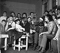 Az Omega együttes tagjai, Mihály Tamás, Molnár György, Kóbor János, Laux József. Tévét adományoznak egy vidéki iskolának. Fortepan 87126.jpg