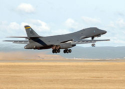 A Rockwell B-1B Lancer taking off from Ellsworth AFB.