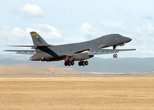 A B-1B Lancer lifts off from Ellsworth Air Force Base, one of South Dakota's largest employers. B-1B Take Off.jpg