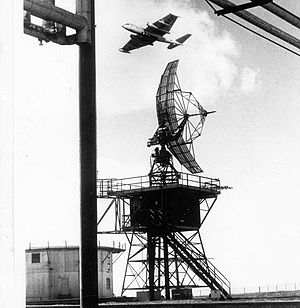 Martin RB-57D Canberra - EB-57D of the 4713th DSES flying over a General Electric AN/FPS-6 radar
