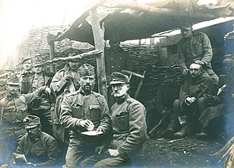 Austro-Hungarian Army - Austro-Hungarian soldiers resting in trench warfare