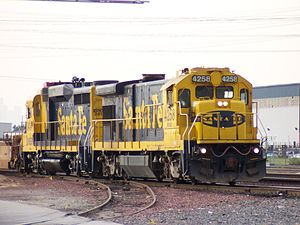 GE B23-7 - BNSF 4258 switching the intermodal yards at Commerce, California, February 15, 2005.