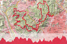 Route and elevation profile of Barcelona Trail Races 2016.