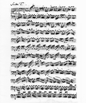 Cello Suites (Bach) - The first page from the manuscript by Anna Magdalena Bach of Suite No. 1 in G major, BWV 1007