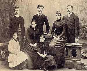 Eemil Nestor Setälä - Image: Back row from left Ilmari, Kaarle, Helmi with spouse E.N. Setälä; in front Aune, Helena née Cleve, Aino 1890s maybe