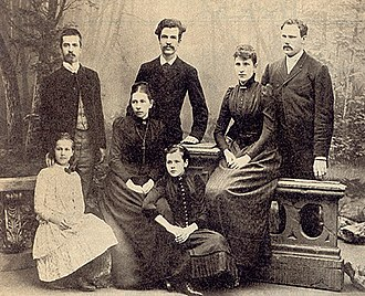 Kaarle Krohn - Image: Back row from left Ilmari, Kaarle, Helmi with spouse E.N. Setälä; in front Aune, Helena née Cleve, Aino 1890s maybe